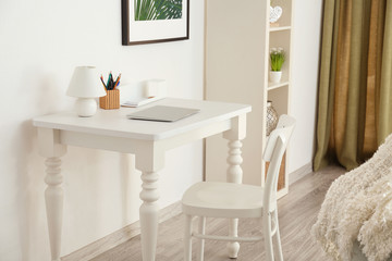 White table and chair in living room