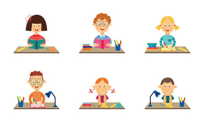 Cute girls and boys kids studying sitting at desk in preschool reading, writing and doing homework with happy and sad emotions. Male, female children and education concept. Vector illustration