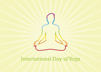 International Day of Yoga vector. Yoga man vector illustration. Chakra meditation. Silhouette of man in yoga position. Man in yoga position. Important day