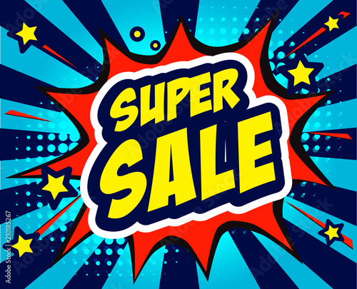 super sale vector illustration, colored pop art style sound