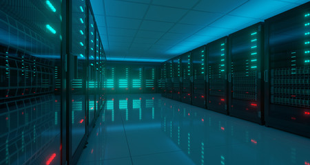 Big Dark High Tech Server Data Center With Reflective Floor Artificial Intelligence Concept. 3D Rendering