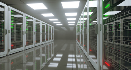 Big High Tech Server Data Center With Reflective Floor Artificial Intelligence Concept. 3D Rendering