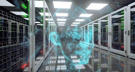 Big High Tech Server Data Center With Reflective Floor And Plexus Head At The Center Artificial Intelligence Concept. 3D Rendering