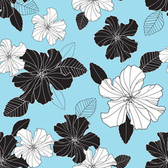 Seamless vector repeat black and white hibiscus flowers and leaf pattern on a blue background.
