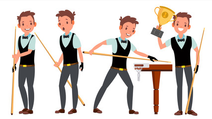 Snooker Male Player Vector. Playing In Different Poses. Man Athlete. Billiard. Championship Tournament. Tournament Event. Isolated On White Cartoon Character Illustration