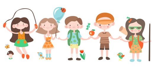 Happy kids, holiday and camping playing with camp elements. Jouful children cartoon vector illustration, set of cartooning happy kids on summer holidays