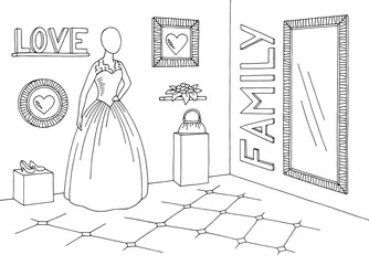 Wedding boutique graphic black white shop sketch interior illustration vector