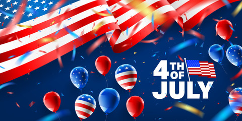 4th of July poster template with Balloon and Confetti.USA independence day celebration with American flag.USA 4 th of July promotion advertising banner template for Brochures,Poster or Banner.Vector