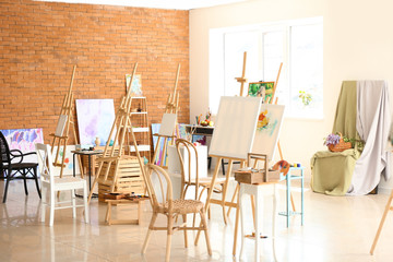 Interior of artist's workshop prepared for painting classes