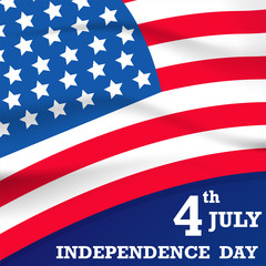 independence day with USA flag vector on white background or banner graphic