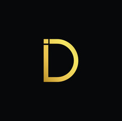 Creative modern professional unique artistic gold color DI ID initial based Alphabet icon on black background