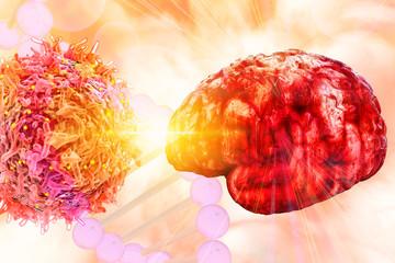 Brain cancer vaccine brain tumour research 3d rendering