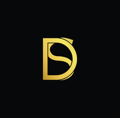 Creative modern professional unique artistic gold color DS SD initial based Alphabet icon on black background