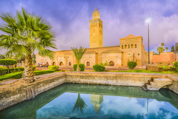 Koutoubia Mosque at twilight time, Marrakesh, Morocco