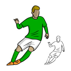 male soccer player with green jersey playing game vector illustration sketch doodle hand drawn with black lines isolated on white background