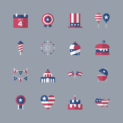 4th of July, independence day icons. Modern flat design set. For presentation, graphic design, mobile application, web design, infographics.