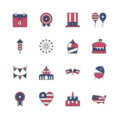 4th of July, independence day icons. Modern linear color design set. For presentation, graphic design, mobile application, web design, infographics.