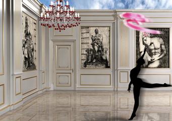 Living room con boiserie e silhouette ballerina