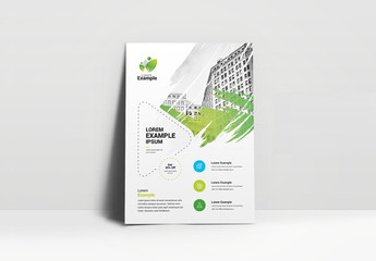 Business Flyer Layout with Brush Stroke Photo Element