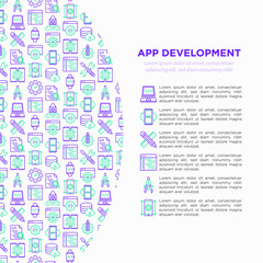 App development concept with thin line icons: writing code, multitasking, smart watch app, engineering, updates, cloud database, testingdesign, settings. Vector illustration, print media template.
