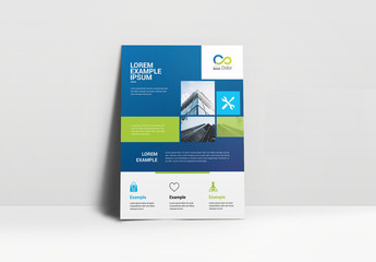 Business Flyer Layout with Blue Textured Elements