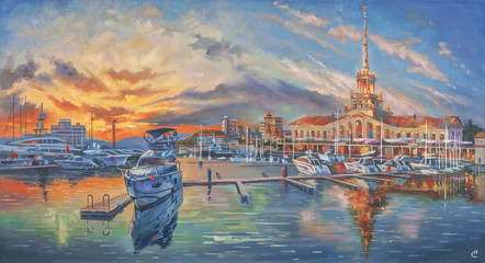 An oil painting on canvas. Evening in the seaport. Author: Nikolay Sivenkov.