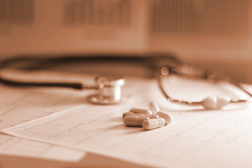 drug and pills with stethoscope