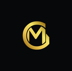 Creative modern professional unique artistic gold color GM MG initial based Alphabet icon on black background