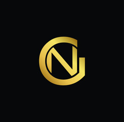 Creative modern professional unique artistic gold color GN NG initial based Alphabet icon on black background