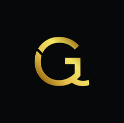 Creative modern professional unique artistic gold color GQ QG initial based Alphabet icon on black background