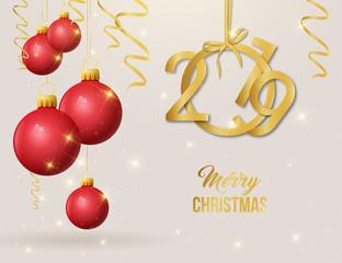 2019 Weihnachtskugeln rot gold