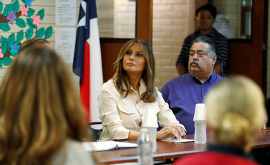 U.S. first lady Melania Trump listens as she visits children's center near the U.S.-Mexico border in McAllen, Texas