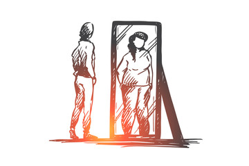 Girl, mirror, body, distorted, weight concept. Hand drawn isolated vector.
