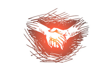 Hands, holding, together, friendship, partnership concept. Hand drawn isolated vector.
