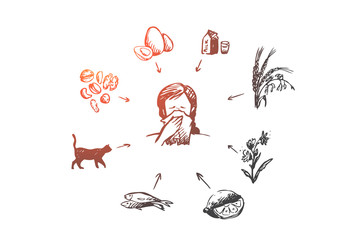 Allergy, sick, disease, sneeze concept. Hand drawn isolated vector.