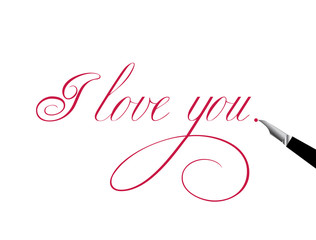 """Words written by hand with a ballpoint pen """"I love you"""". Love, romance."""