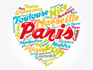 List of cities and towns in France composed in love sign heart shape, word cloud collage, business and travel concept background