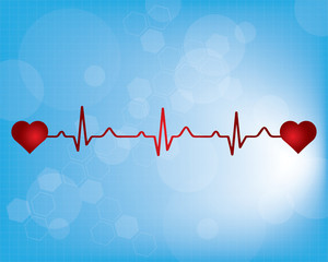 Heartbeat / heart beat pulse flat icon for medical apps