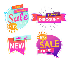 Set of 4 banner elements, sale and discount tag collection, hot summer special offer. Modern website stickers. Vector illustration.