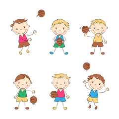Happy cartoon basketball players. Funny doodle boys play ball. Kids sport activity. Vector illustration