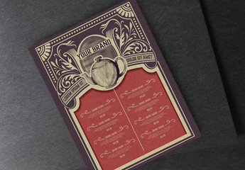 Restaurant Menu Layout with Vintage  Illustrations