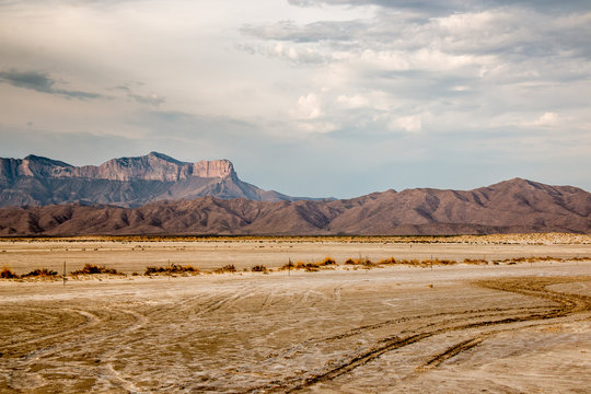View of the Guadalupe Mountains from Salt Flats