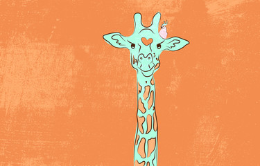 Cute giraffe with the bird