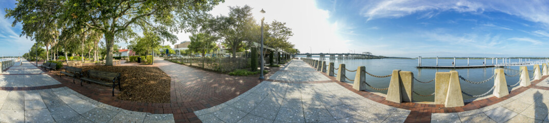 360 degree panorama of waterfront in Beaufort, South Carolina.
