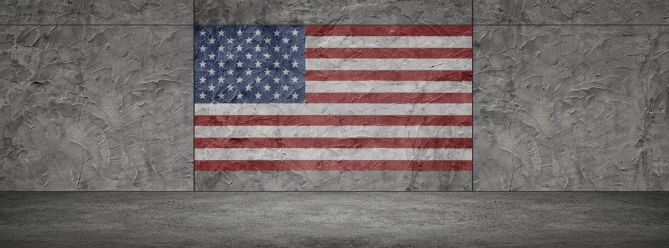USA Flag American Wall Showroom Background