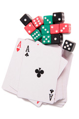 Cards and dives for casino with on white background
