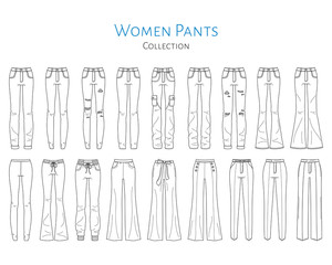 Women pants collection, vector sketch illustration.