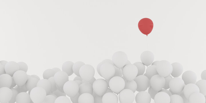 Abstract of floating red outstanding around white balloon isolated on white background,minimal idea design.3D rendering