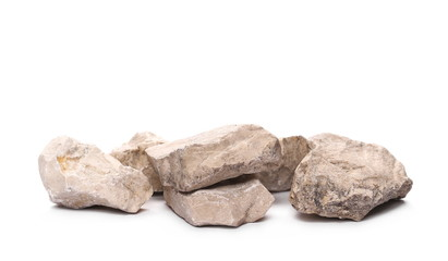Pile rocks isolated on white background and texture