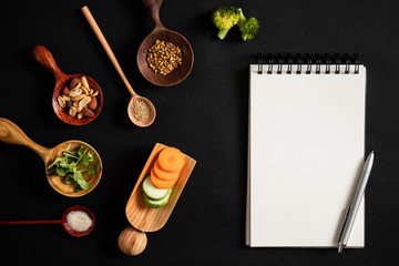Food ingredients for healthy food, recipe copy space for design